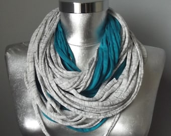 Jersey Scarf Tshirt Scarf Grey Scarf Necklace Scarf Women Scarf Infinity Scarf Noddle Scarf Cotton Scarf Loop Scarf Summer Layered Scarf