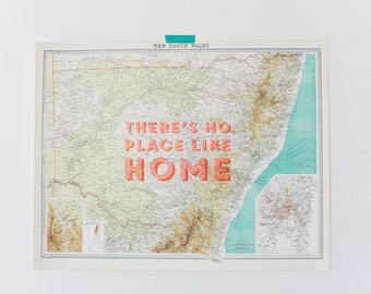 "Vintage Map of New South Wales ""There's No Place Like Home"""
