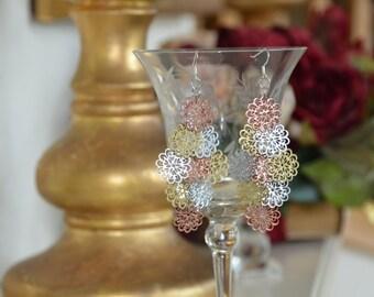 Gold, Bronze & Silver dagle earrings