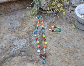 Multi Color Skull Neclace, Bracelet and Earring Set With Silver Accent Beads