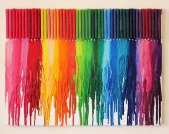 Melted Crayon Art - A3 Rainbow Canvas