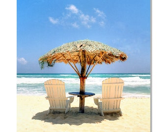 Beach chairs and palapa photo / cozumel mexico beach photo / tropical beach photo / mexico beach photo / Turquoise water photo /