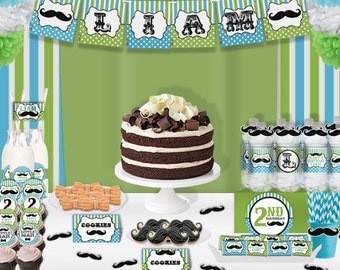 Little Man Mustache Bash Birthday Party Printable Party Decorations Supplies - Standard Set Party Kit PK-7