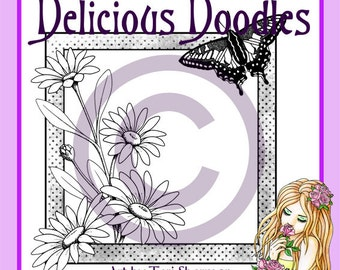 Digital Stamp - Daisies and Butterfly Frame