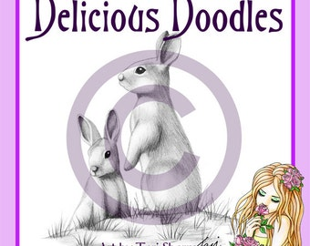 Digital Stamp - Rabbits 'On The Lookout'