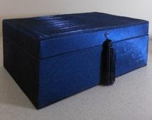 SWAROVSKI Jewelry Box Sapphire Blue Tray Mirror Tassel Swan Logo