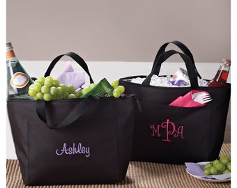 Stylish Insulated Black Lunch Tote (c118-1118) - Free Personalization