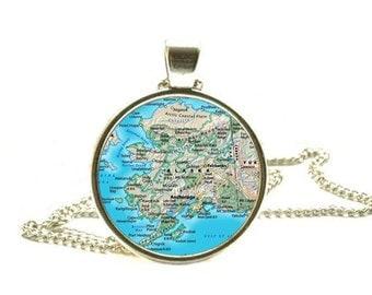 Alaska map pendant, Alaska map necklace Alaska pendant Alaska necklace Alaska map jewelry