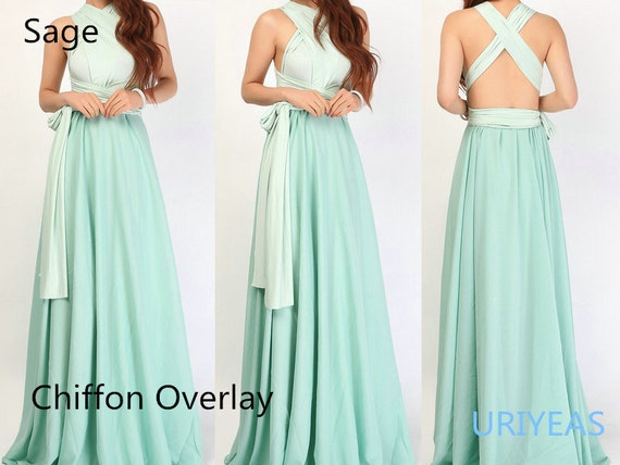 Long infinity dresses with chiffon skirt in sage color ...
