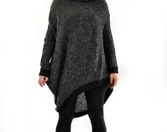Wool gray casual tunic/Asymmetrical tunic/Long sleeves mohair tunic/Oversize top tunic/Woman long blouse/Maxi wool tunic dress/T1384