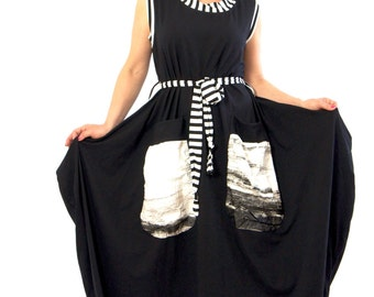 XL/XXL/XXXL/New collection/Black oversized dress/Casual dress/Maxi dress/Summer dress/Loose dress with pockets/Handmade dress/Gabyga/ D1229