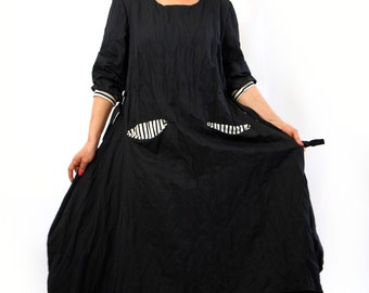 Black maxi cotton dress/Casual loose cotton dress/Long oversize dress/Long sleeves dress/Handmade dress/Maxi dress with pockets/D1392