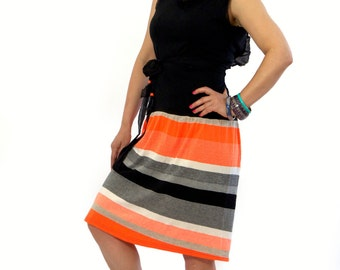 New collection/Summer Casual dress/Orange and black tunic/Open back casual dress/Sleeveless dress jersey dress/Midi extravagant dress/D1441