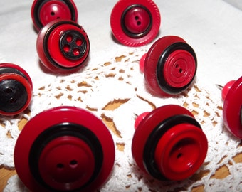 Button Push Pins - Decorative Drawing Pins - Thumbtacks - Message Bulletin Board - Cottage Chic  - Red & Black - Office Supply - Homeware