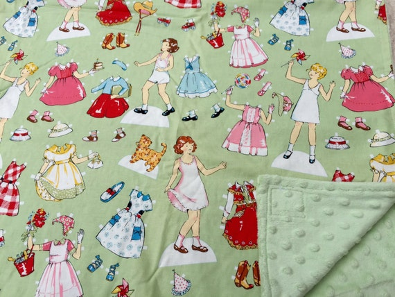 Paper dolls baby blanket retro fabric by practicalwhimsy2 for Retro baby fabric