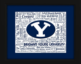 Brigham Young University (BYU) 16x20 Art Piece - Beautifully matted and framed behind glass