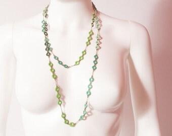 Green & Blue Enamel Necklace