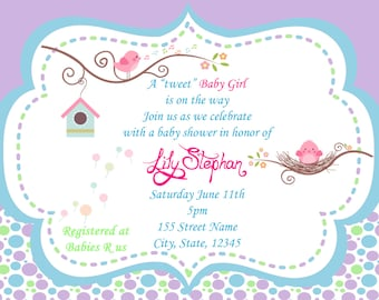 Tweet Baby Girl / Baby Shower Invitation / Tweet baby bird shower invitation