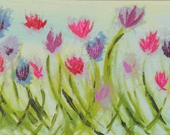 Impressionist glittery tulips