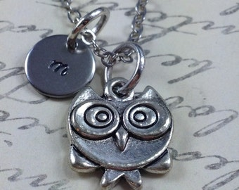 Owl necklace, personalized necklace, bird necklace, owl jewelry, initial necklace, gift for her, long owl necklace