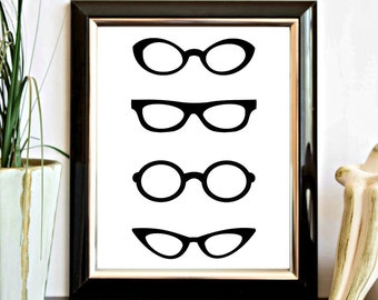 Eye Glasses Printable Wall Art - Wall Decor Poster - Spectacles Print - Eye Glass Frames - Office Decor - Digital Artwork Home Decor