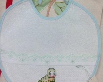 1 Bib cross stitch Embroidery with Caterpillar