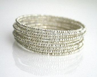 Silver wrap bracelet, 10 layer, bracelet - KATE