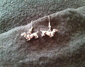 Vintage 3D Dachshund Dangling Earrings