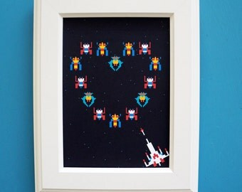 Galaga Love Art Print : Valentines Gift FRAME INCLUDED