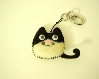 cat keyring felt