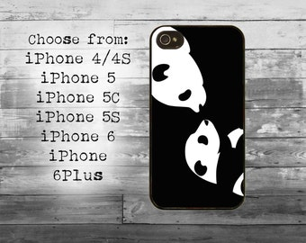Cute black and white pandas phone cover - iPhone 4/4S, iPhone 5/5S/5C, iPhone 6/6+, iPhone 6s/6s Plus case - panda iPhone case
