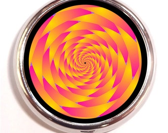Orange Spiral Pill box Pillbox Case Holder - Holds Guitar Pics - Electric Daisy - Trippy Pop Art - Psychedelic - Rave - Music Festival