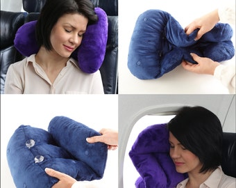 Znzi Travel Stuff travel pillow and neck pillow with 6 magnets and 2 suction cups for ultra adjustability!
