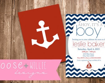 Custom Baby Shower Invitation - Nautical - Choose Colors/Personalize