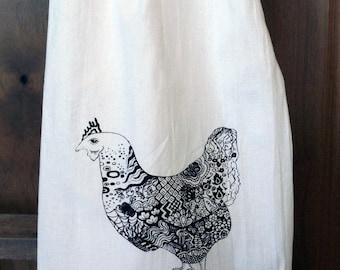 Zen Chicken Tea Towel - Flour Sack Towel