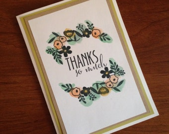 Thank You Card With Water Color Detail