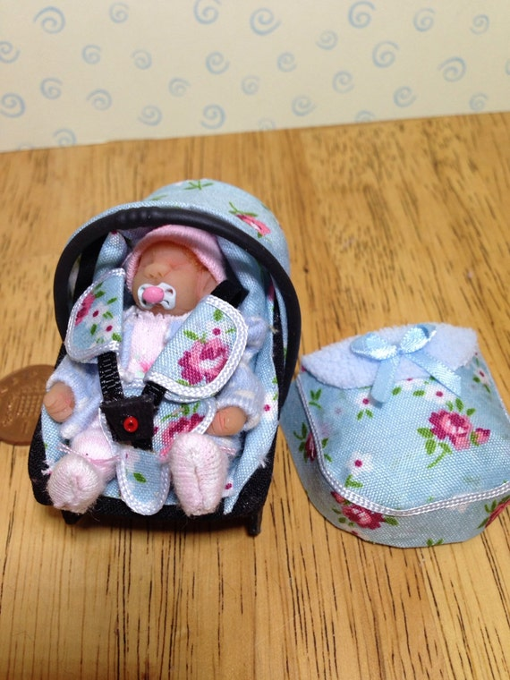 Dolls House Ooak Baby Girl Amp Car Seat Baby Carrier With Apron