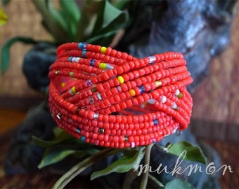 SALE!! Unique Thai Handmade Handicraft Chic Beaded Bracelet Wristband Cuff Bangle Womens Fashion Jewelry,Red