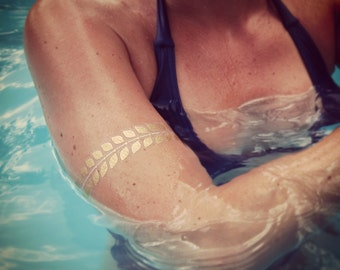 Gold Metallic FLASH Bracelets Tattoos, FLASH temporary Tattoos, Floral Gold Tattoos, Antic Gold Temporary Tattoos