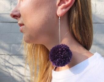 Dark Purple Pom Pom Earrings with SILVER CHAIN