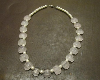 Rose Quartz Art Deco Necklace & Bracelet