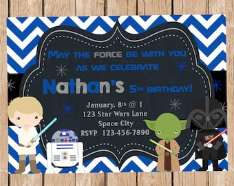 Star Wars Chalkboard Style Birthday Invitation