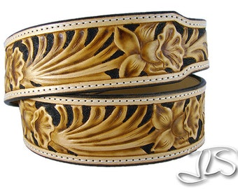 Hand Tooled Western Leather Belt Custom Carved