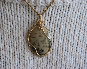 Moss Agate 14kt gold wire wrap pendant