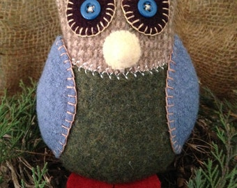 Owl pincushion felted wool toy