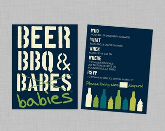 Customizable Beer, BBQ and Babies Diaper Shower Download