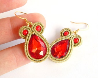 Drop crystal earrings, gold earrings, red earrings, soutache earrings, red chic earrings,