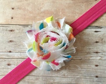 Baby Girl Headband, Spring Dot Headband, Shabby Chic Headband, Chiffon Flower, Baby shower gift, Baby Hair Accessory, newborn headband