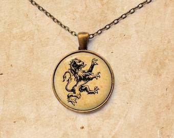 Lion necklace Animal pendant Antique jewelry