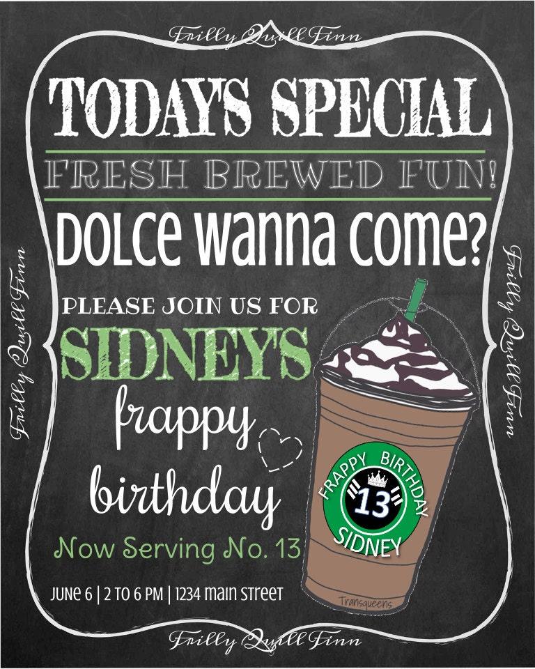 Starbucks Coffee Chalkboard Invitation Birthday Invite